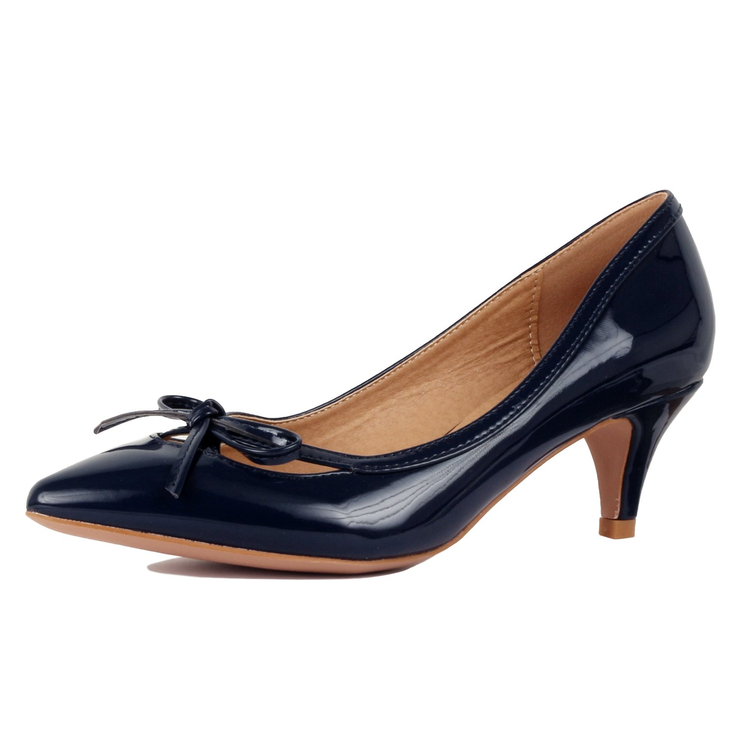 Guilty Shoes - Womens Classic Pointy Toe Low Kitten Heel Office Dress Slip On Fashion Pump - 22 Colors (10 B(M) US, 17-Navy-Patent)