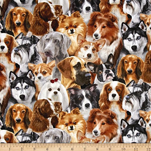 (Elizabeth's Studio Breeds Pack Dogs Black Fabric by The Yard)