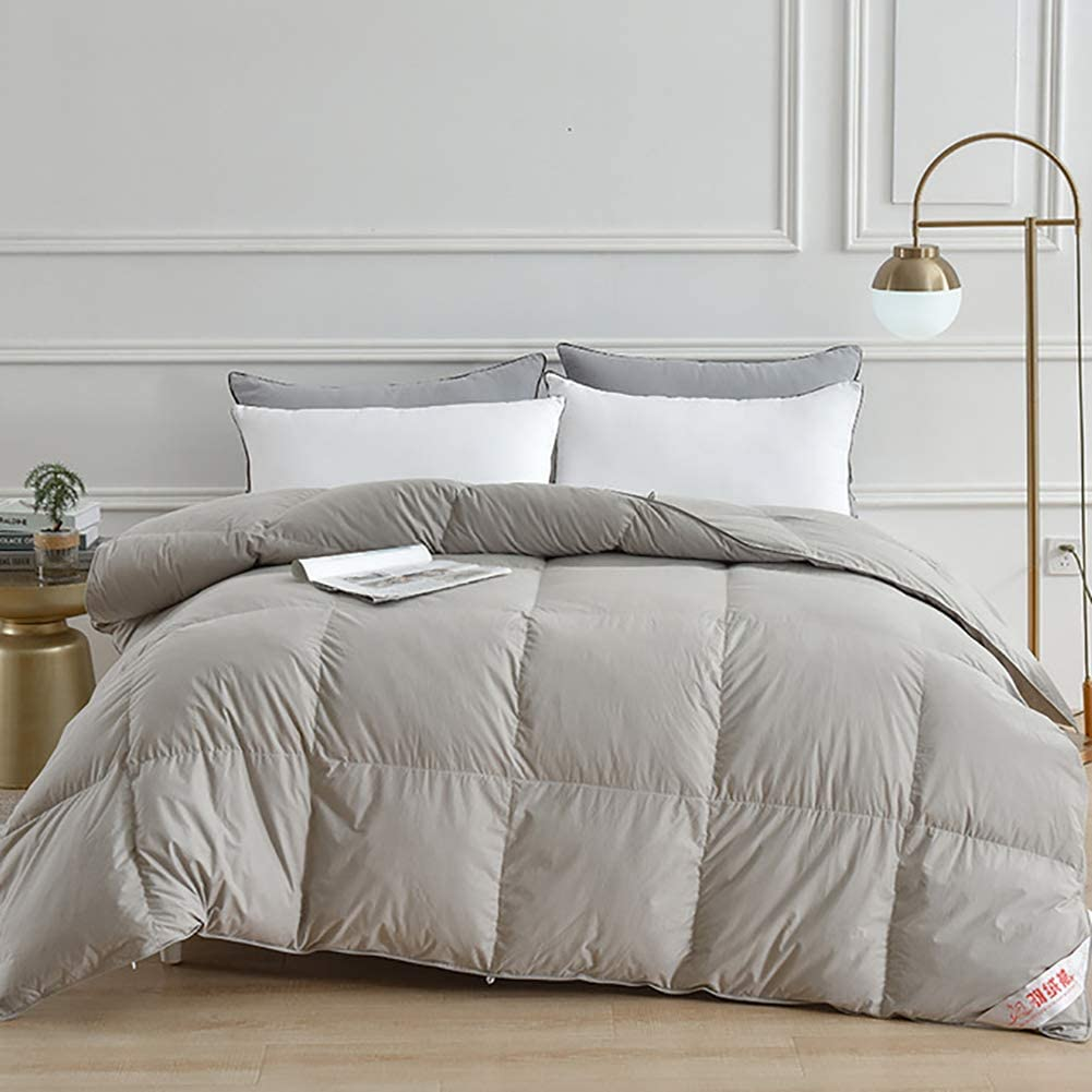 Rong White Goose Down Comforter Hypoallergenic All Season Down Down100 Cotton Shell Down Proves Fluffy Warmth And Comfortable Sleep Lasting Warmth Gray 200 230cm 3 4kg Amazon Co Uk Kitchen Home