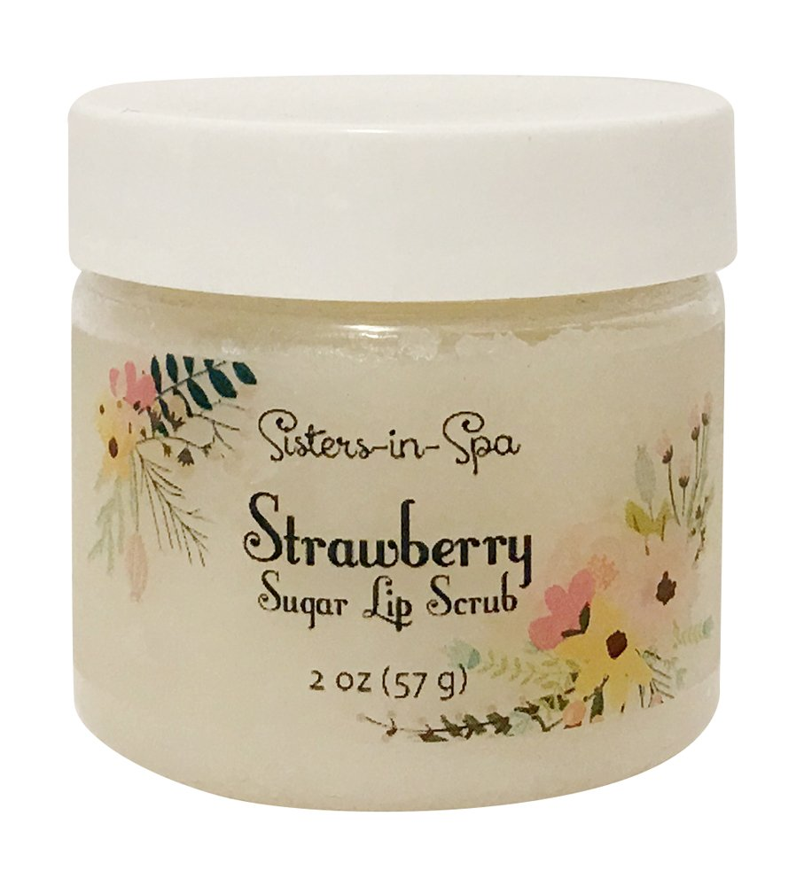 Sisters in Spa Strawberry 2 oz. Sugar Lip Scrub for Silky Smooth Kissable Lips – Made in the USA by Sisters in Spa (Image #1)