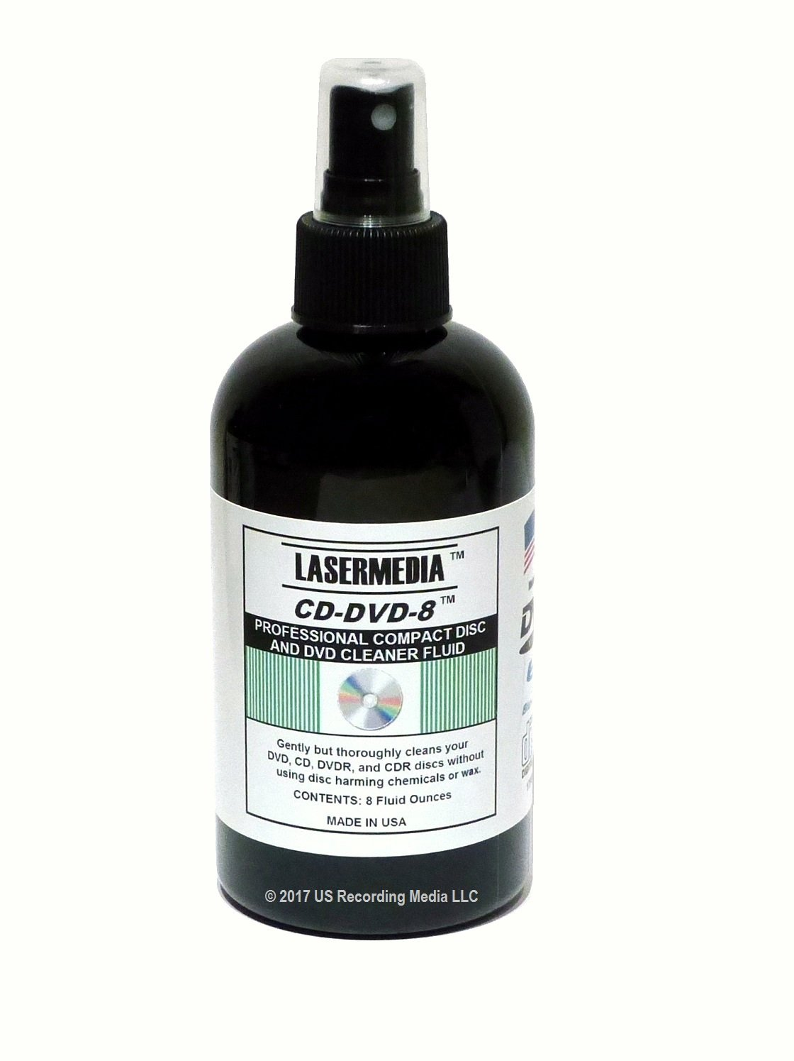 TME Lasermedia CD-DVD-8 Compact Disc/CDR and DVD-DVD-R Cleaner 8 Ounce Spray Bottle