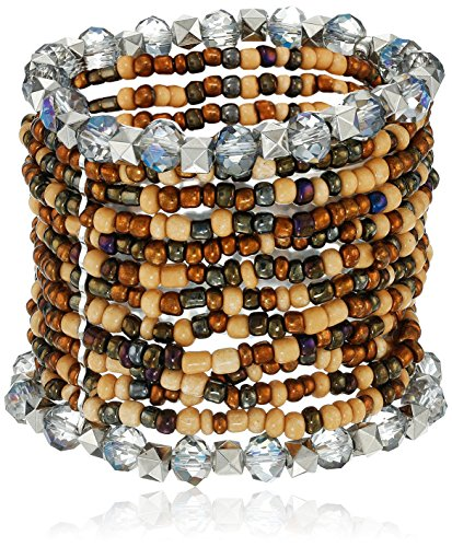 Wide Tonal Brown Seed Bead and Faceted Glass Stretch Bracelet , 7