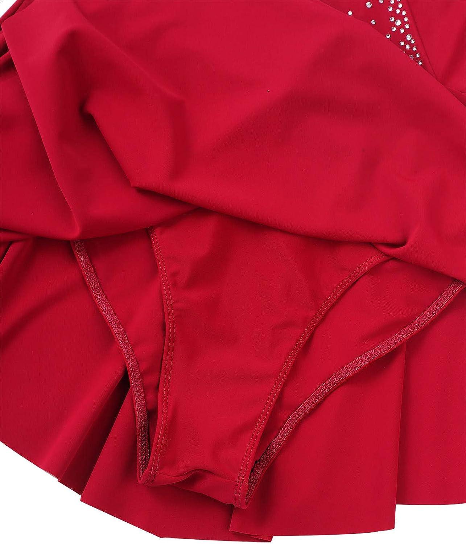 ranrann Femme Robe Patinage Artistique Manches Longues Justaucorps Gymnastique Gym Danse Latine Ballet Robe Danse Classique Performance Dansewear Leotard Bodysuit S-XL