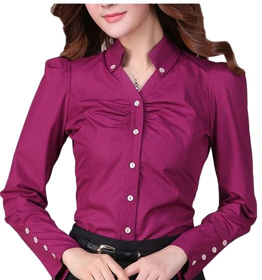 58898e795a5 FLCH+YIGE Womens Office Work Long Sleeve Button Up Shirt Blouse Top 1 XS