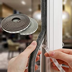 Tooperze Weather Stripping for Door,Self Adhesive Brush Window Seal Strip for House Windows Weatherproof Soundproof Dustproof 32.8 FT Length