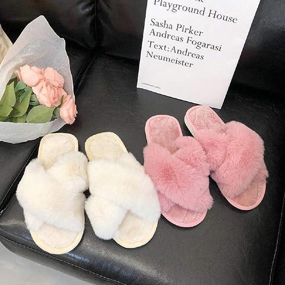 AONEGOLD Chaussons Femmes Maison Pantoufles Chaud Fausse Fourrure Femmes Croix Doux en Peluche Furry Pantoufles /à Bout Ouvert poilues