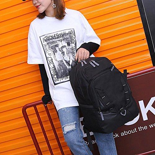 Nylon 14inch Laptop-Rucksack-Computer-Beutel-beiläufige koreanische im Freien wasserdichte Schulter-Paket-College-Art HC black 25MUF