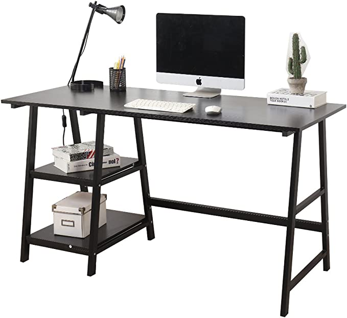 SogesHome 47 inch Computer Desk with Shelves PC Desk for Home Office Writing Table Workstation White Oak Tplus-OK-120-HCA