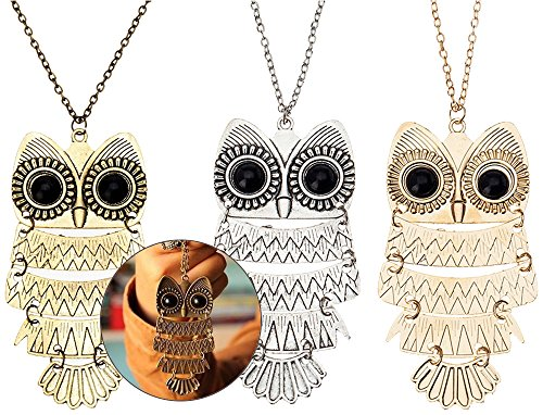(Jewelry Set / Kit / Lot of 3pcs Ladies Womens Girls Sweater Necklaces With Wise Owls Pendants On Long Chains)