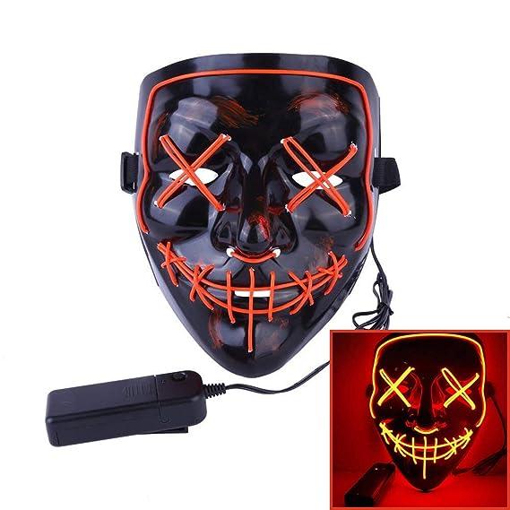 Alxcio Halloween LED Máscaras, Horror Máscara Halloween Cosplay Grimace, para la Navidad Halloween Festival Party Show Máscaras, Batería Motorizado, ...