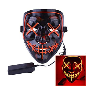 Alxcio Halloween LED Máscaras, Horror Máscara Halloween Cosplay Grimace, para la Navidad Halloween Festival