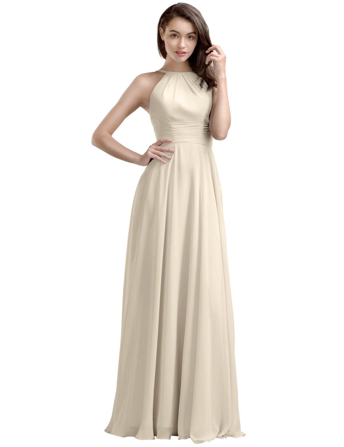 AWEI Bridal A-Line Long Bridesmaid Dress Chiffon Prom Dress with Round Neck, Champagne, US14