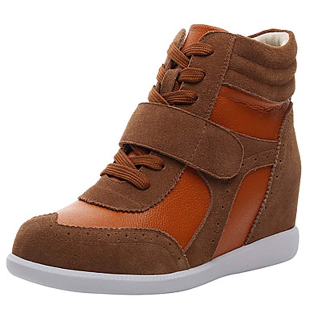 TTschuhe Damen Schuhe Leder Herbst Winter Komfort Modische Stiefel Turnschuhe Keilabsatz Runde Zehe Braun Rosa und Weiss Weiß   Blau