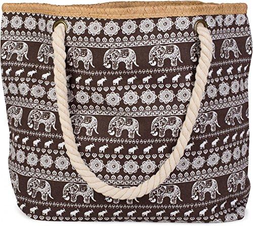Brown Color sling bag with shopper Dark print styleBREAKER beach Blue ethno bag zipper ladies 02012063 elephant qwAxpZT