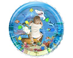 Lucky Doug 40''X40'' Baby Tummy Time Water Play Mat, Upgrade Infant Toys Inflatable Water Play Mat Baby Toys 0-3 3-6 6-12 Mon
