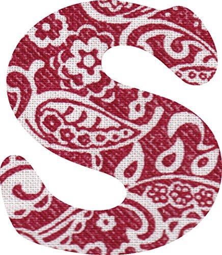 ペイズリー柄 生地 アルファベット S アップリケ レッド アイロン接着可能 大文字 coop (5cm)の商品画像