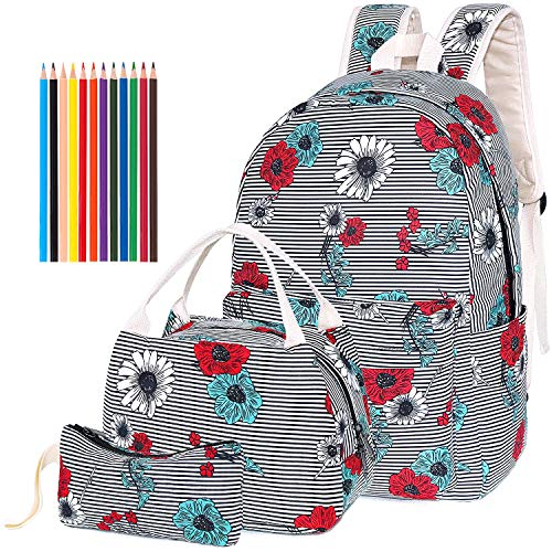 Middle School Backpacks with Lunch Bag Pencil Case for Little Girls Teens Kids (Stripe Black)