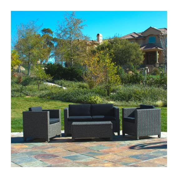 Christopher Knight Home 214136 Puerta Outdoor Wicker Sofa Set, Black - Entertain your guests outdoors while giving them Plenty of room and even a place to Set their drinks or plates Down. With the included plush Cushions, you can chat for hours in the comforts of your backyard. Includes: two (2) Club chairs, one (1) Loveseat, and one (1) table Material: Polyethylene wicker | frame material: Steel - patio-furniture, patio, conversation-sets - 61TKxSvQf L. SS570  -