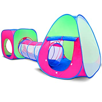Children and Kids Pop Up Play House Tent and Tunnel Tube 3 Pieces in 1  sc 1 st  Amazon.com : kids pop up tent with tunnel - memphite.com