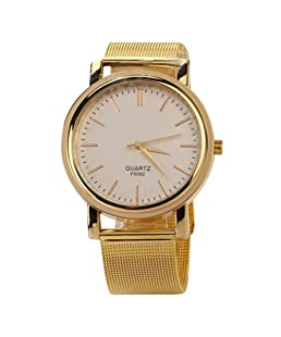 Luxury Classic Mesh Strap Round Dial Quartz Watch for Men/Women