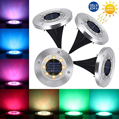 Solar Disk Light Outdoor In-Ground 8 Led Solar Ground Light Waterproof, 7 Color Changing Pathway Landscape Flat Solar Powered On Ground Light with for Outside Lawn Garden Yard Walkway -Colorful 4 Pack: Home & Kitchen