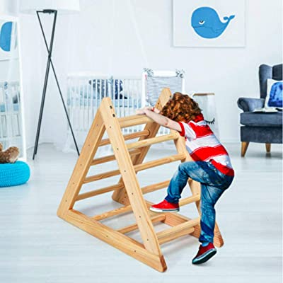 discountHEH Wooden Climbing Pikler Triangle Ladder for Toddler Step Training Indoor Playful Climbers with Stable Structure, Suitable for Children Boys Girls 3 Years Old+: Toys & Games