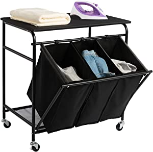 HollyHOME Laundry Sorter Cart with Unopenable Ironing Board with Side Pull 3-Bag Heavy-Duty Laundry Hamper and 4 Wheels Black