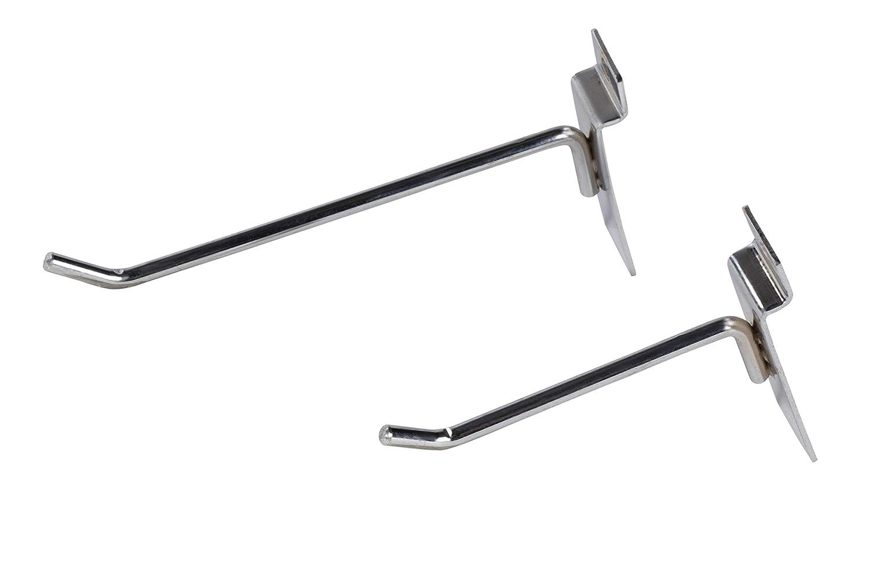 Single Rod Heavy Duty Metal Slatwall Hooks 12-Pack 4-Inch and 6-Inch Assorted Slatwall Display Hooks for Panel Slatwall Hooks for Retail Display