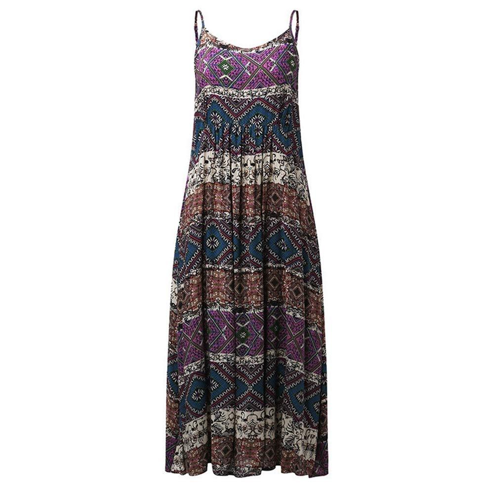 Libermall Women's Dresses Summer Sexy Halter Floral Print Beach Sundress Evening Party Long Dress Purple