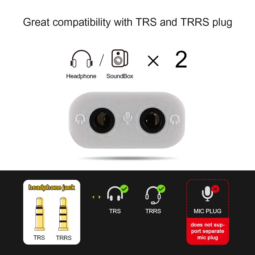 Black Linux Extra Lovers External USB to 2 x 3.5mm Stereo Jack Audio Splitter for Windows Plug and Play Mac CableCreation USB to Audio Adapter