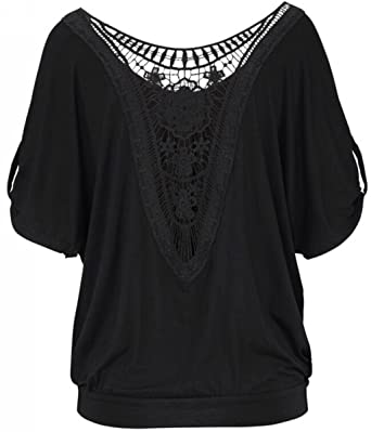 eb5461b1ae2e UGET Women Sexy Blouse Loose Round Neck Backless Hollow Lace T-Shirt Tops  Plus Size