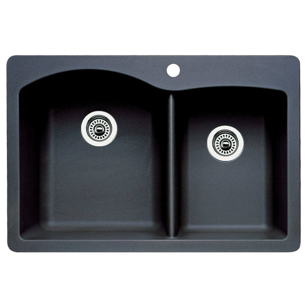 Attirant Blanco 440215 Diamond Double Basin Drop In Or Undermount Granite Kitchen  Sink, Anthracite   Double Bowl Sinks   Amazon.com
