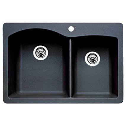 Blanco 440215 Diamond Double Basin Drop In Or Undermount Granite Kitchen  Sink, Anthracite