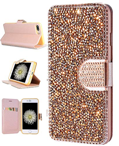 iPhone 8 Plus Wallet Case, iPhone 7 Plus Bling Case, FLYEE Handcraft Luxury Rhinestone Flip Case Magnetic Crystal Protective Leather with Card Slot for iPhone 7+ iPhone 8+ 5.5 inch [Rose Gold] ()