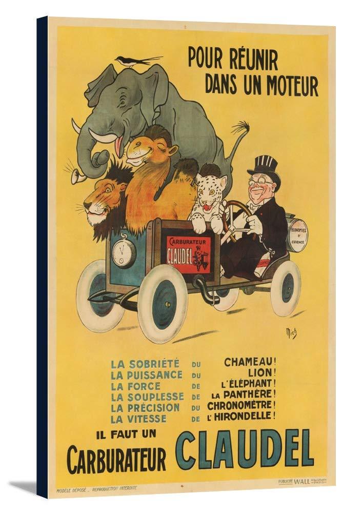 クローデルcarburateurヴィンテージポスター(アーティスト: Mich )フランスC。1912 24 x 36 Gallery Canvas LANT-3P-SC-64053-24x36 B0184B04HK  24 x 36 Gallery Canvas