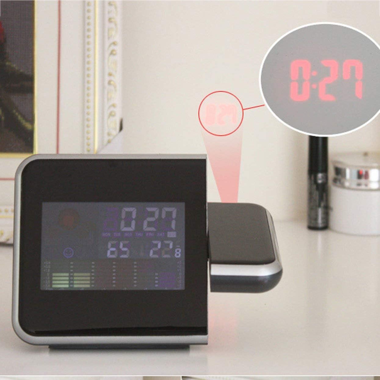 Noir LoveOlvido /Électronique num/érique Pr/évisions m/ét/éo Horloge LCD /Écran R/éveil Calendrier Projecteur R/étro/éclairage LED Maison De Chevet D/écor