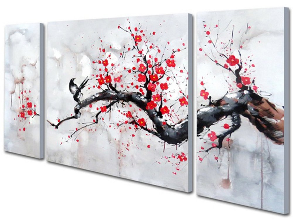 Hand Painted Modern Chinese Style Cherry Blossom The Plum Blossom Tree Wall Art Picture 3pcs Oil Paintings On Canvas Handmade For Living Room Home