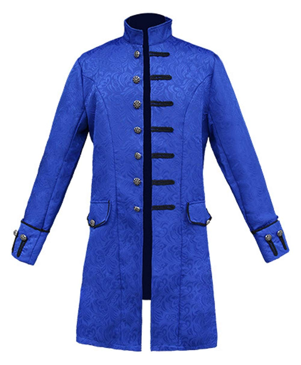 LETSQK Men's Steampunk Halloween Costume Stylish Vintage Goth Victorian Jackets Blue M