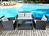 Merax 4 Pieces Outdoor Furniture Patio Cushion Wicker Rattan Garden Sofa Set Outdoor Rattan Wicker Loveseat and Chair Set,Black