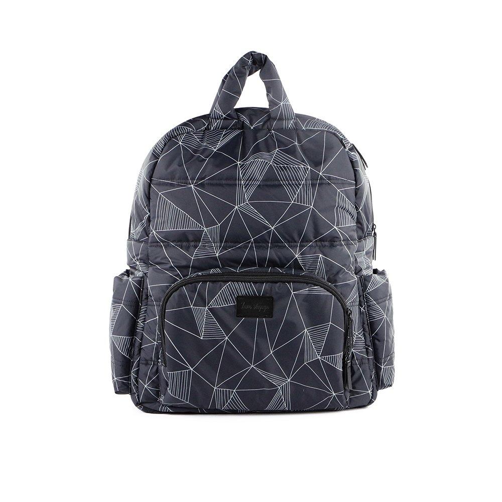 7AM Voyage BK718 Backpack & Diaper Bag, Water Resistant, Multi-Use Travel Bag for Women and Men, Fits 15.6 Inch Laptop, (Print Black Geo)