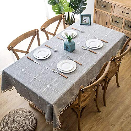 OstepDecor Rectangular Embroidery Lattice Tablecloth - Grey, 55 x 86 Inch - Washable Cotton Linen Decorative Table Cover for Kitchen Dining Room Table Protection