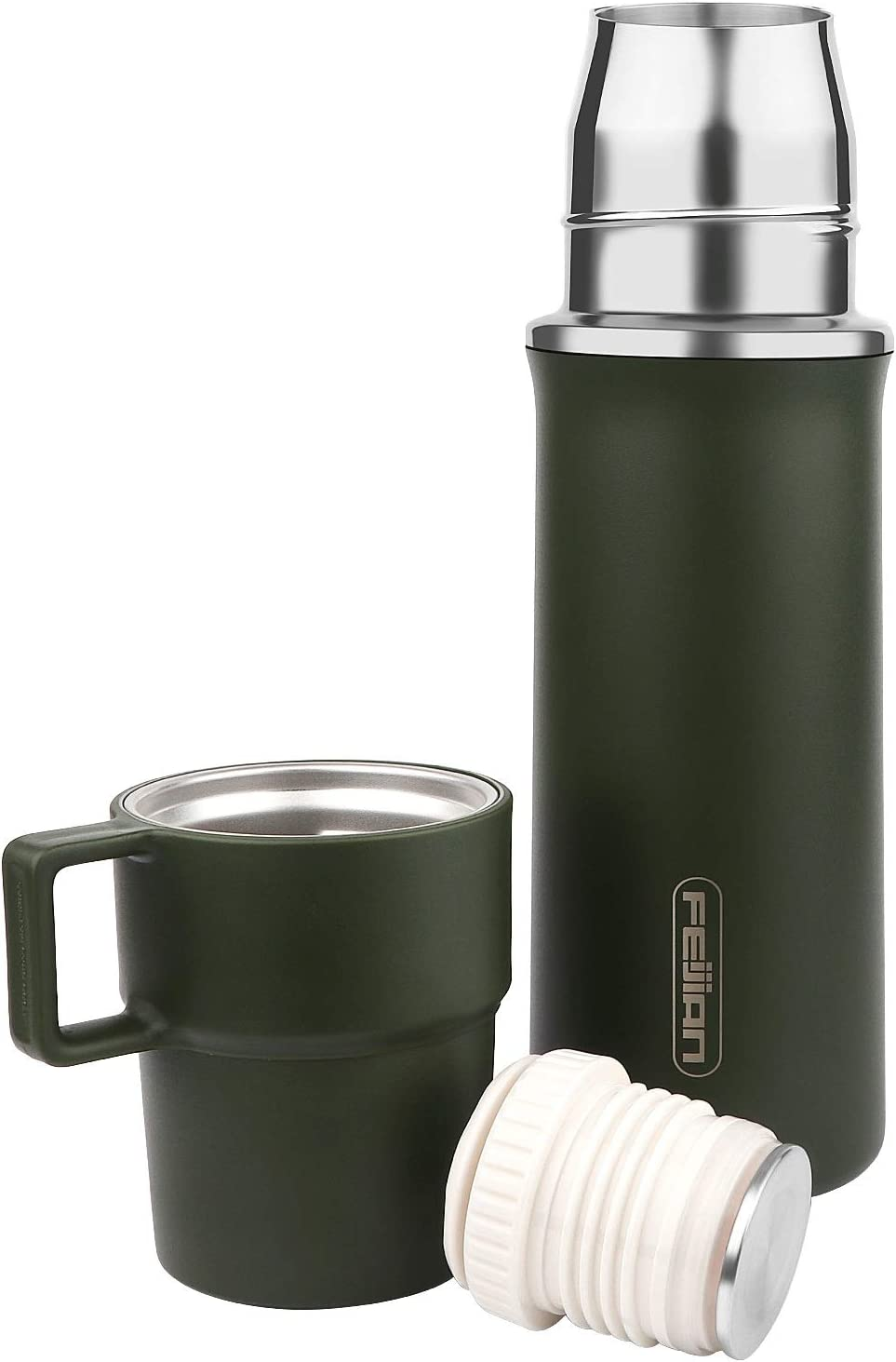 FEIJIAN Thermos Add-A-Cup Water Bottle Insulated Vacuum Stainless Steel Beverage Bottle for Hot & Cold Drink, Coffee Travel Mug Thermal -Leakproof Build-in Lid Cup Integrated Handle, 21 OZ, Army Green
