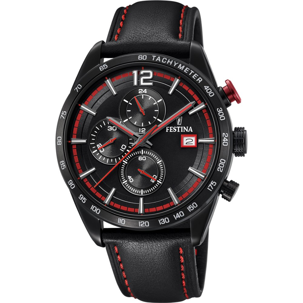 Men's Watch Festina - F20344/5 - Chronograph - Tachymeter - Date - Leather Strap - Black and Red