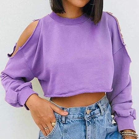 UANOU Streetwear Aesthetic Sweatshirt Frauen Vintage Harajuku Solid Y2k Crop Top Aushöhlen Herbst Baumwolle Oversized Shirt Cuteandpsycho: Küche & Haushalt