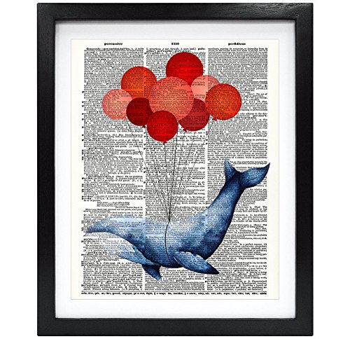 Susie Arts 8X10 Unframed Whale with Red Balloons Upcycled Vintage Dictionary Art Print Book Art Print Funny Art Print Funny Wall Art V076
