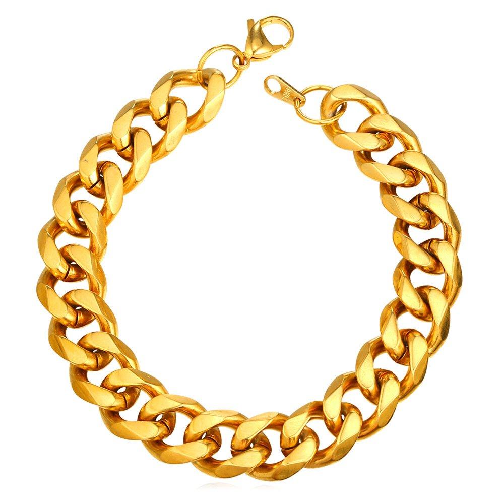 de0164c3d2a88 3MM/6MM/9MM/12MM Men Chain Bracelets Wide High Polished Chunky Bracelet  Curb Cuban Chain Stainless Steel Base Men Jewelry,8.3 Inch