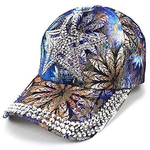 Flower Hat Embellished (Star Bling Embellished Blue Flower Baseball Cap)
