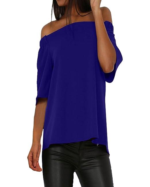 StyleDome Mujer Camiseta Playa Mangas Cortas 3/4 Blusa Cuello Barco Tops Verano Hombros Descubiertos
