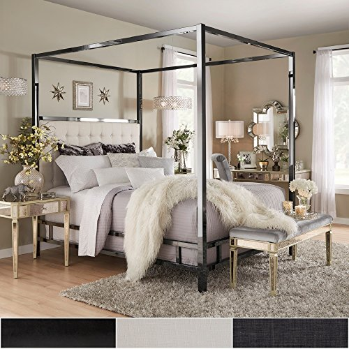 Inspire Q Solivita Black Nickel Metal Queen Size Canopy Poster Bed By Bold Off White