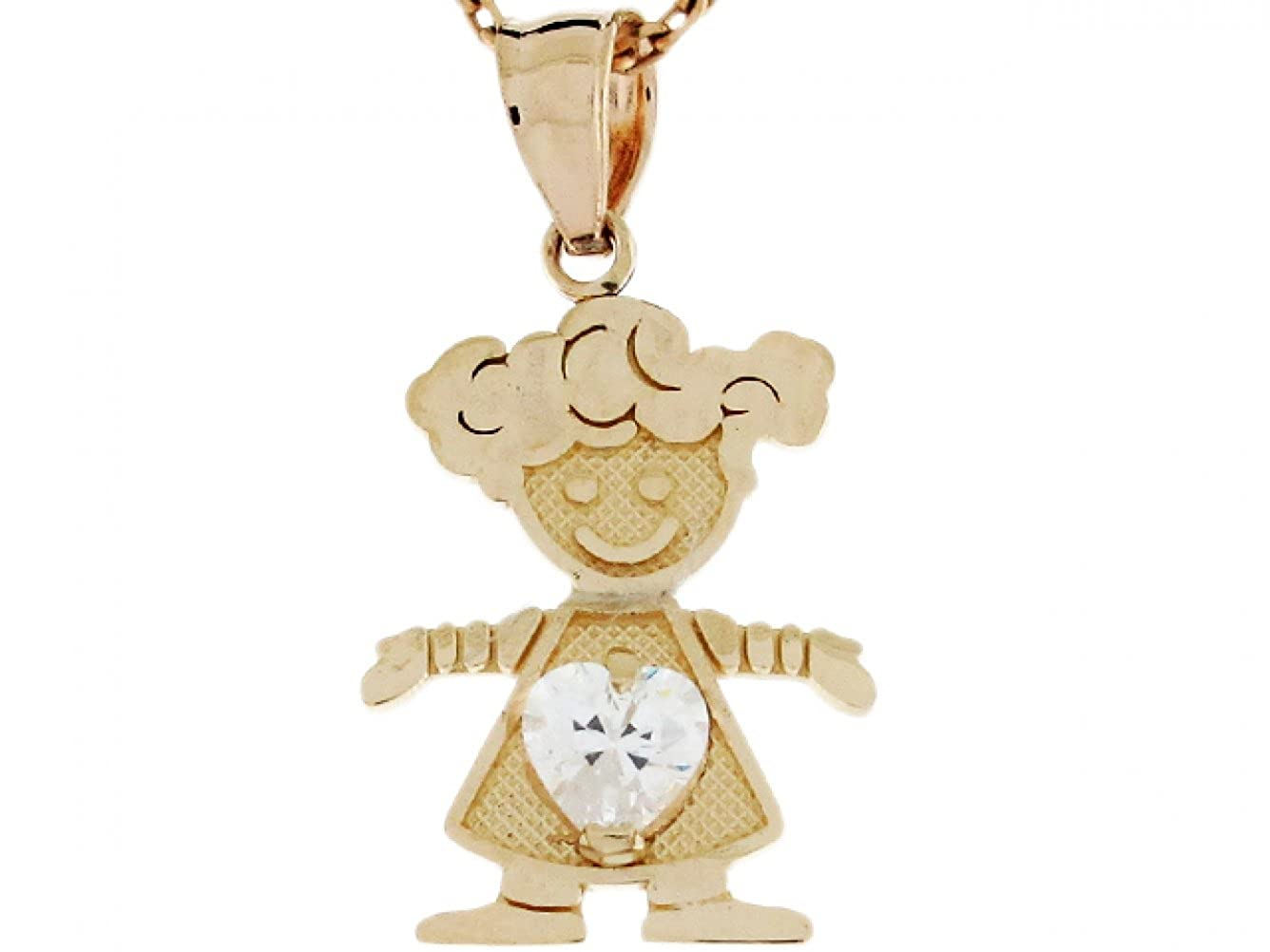 14k Real Gold White CZ Simulated April Birthstone Love My Baby Girl Charm